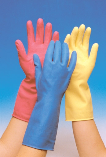 Rubber gloves tri color