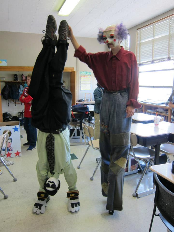 Upsidedown and stilts